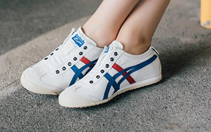 依思q鞋:Onitsuka Tiger Mexico 66 Slip-on White/Tricolor 经典白蓝莆田鞋!货号:TH1B2N-0143