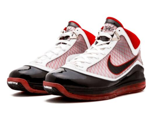 耐克/Nike Air Max LeBron 7 White Black Varsity Red元年莆田真标鞋!货号:375664-102